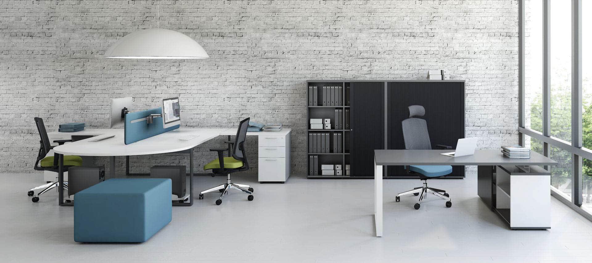 MDD OGI Q ensemble de bureaux armoire à rideaux et poufs