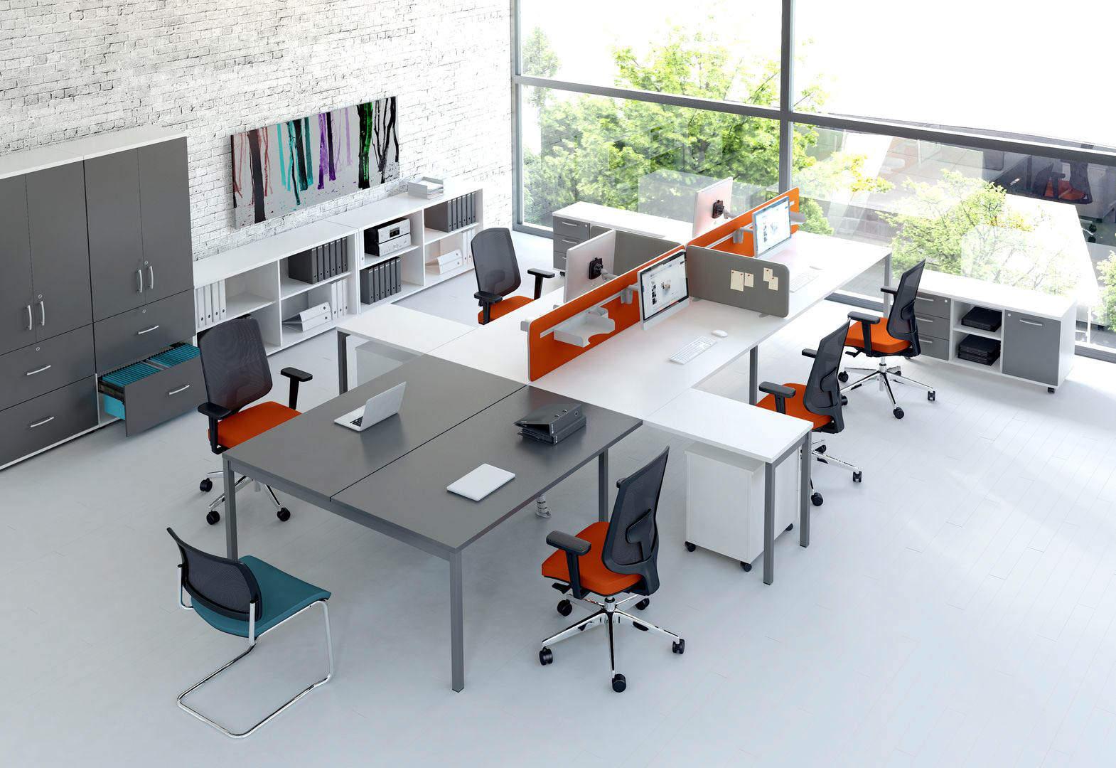 MDD OGI Y ensemble de bureaux avec retour, cloison support écra