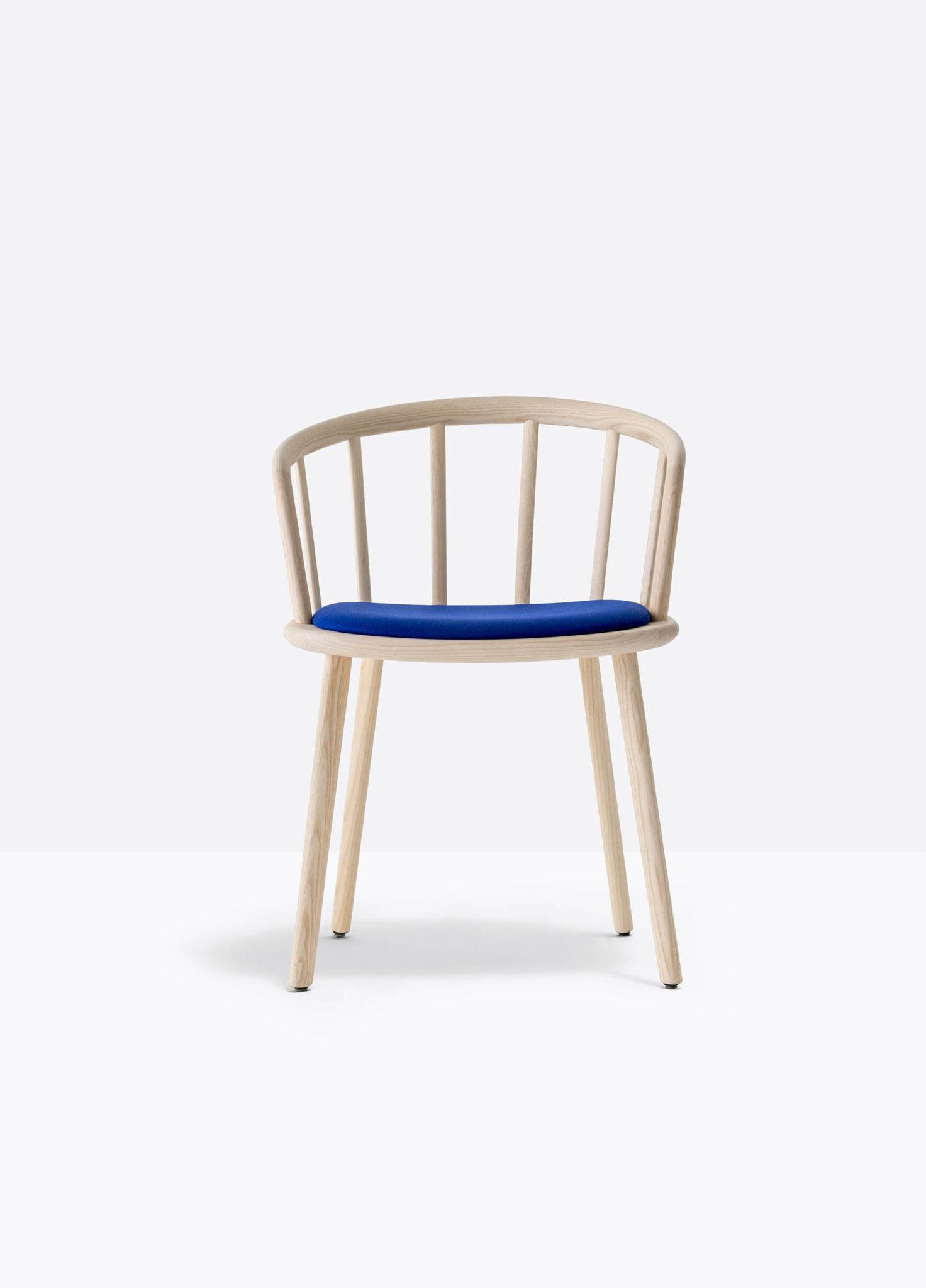PEDRALI NYM 2836 fauteuil bois placet assise tissu